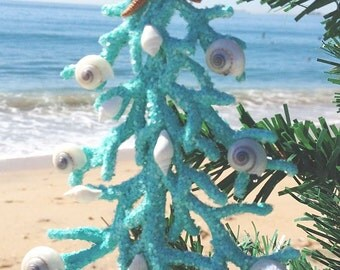 Turquoise Coral Tree Ornament, Ornaments, Nautical Ornament, Beach Ornament, Tree Ornament, Beach Decor