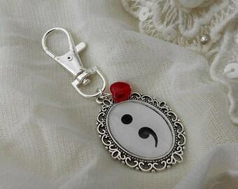 Mental Health Symbol Semi Colon Bag Charm/Key Ring