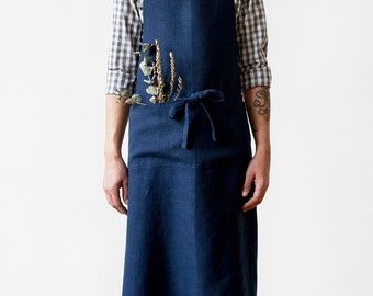Navy Stone Washed Linen Chef Apron