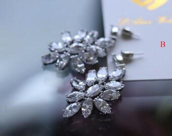Crystal Zircon Bridal Wedding Drop Earrings - 30%off