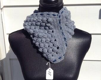 100% Wool Crocheted Light Heather Blue Popcorn Ruffled Neckwarmer/Cowl