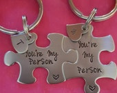 Customizable You're My Person Puzzle Piece Key Chain Set Heart Charms with Initials Hand Stamped Personalized His and Hers Set