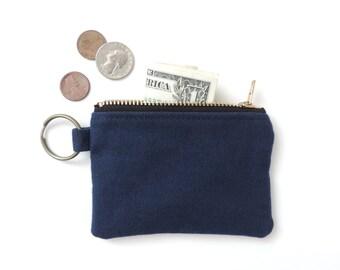 Canvas Keychain Coin Purse Slim Wallet Zipper Pouch Blue