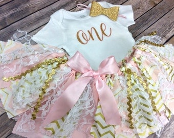 Pink and Gold Glitter Birthday Outfit with Dainty Pink Bordered Gold Age - Onesie / Shirt, Fabric Tutu w/ Lace & Bow Headband, One Year Old