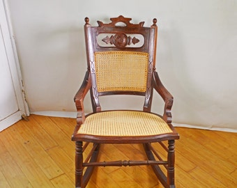Antique Rocking Chair, Wood Rocking Chair, Rare Cane Chair, Victorian Rocking Chair, Antique Rocker, Antique Furniture, Antique Wicker Chair