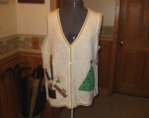 New old stock vtg Christmas Vest button front felted tree candle all the holiday festivities free ships xl