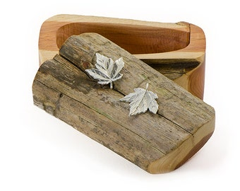 Driftwood Box with Sterling Silver Maple Leaves