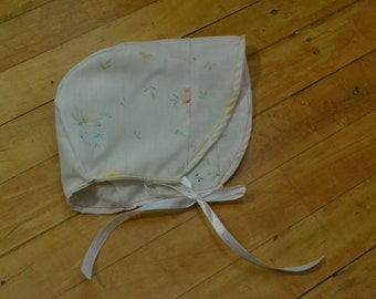 SALE - Cherry Blossom Bonnet - floral cotton baby bonnet