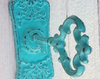 Ready To Ship Skeleton Key Hook Cast Iron Turquoise Wall Decor Shabby Chic Vintage Inspired