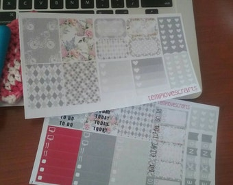 Grey Bicycle Kit for Erin Condren Life Planner