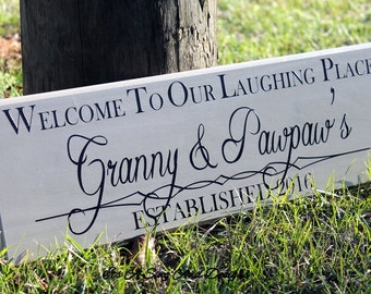 Laughing Place, Grandma, Welcome Sign Front Door, Welcome Sign Porch, Gifts for Grandma, Granny Sign, First Time Grandparents, Grandma Est