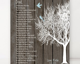 Daughter to Father Gift, Father of the Bride Gift on Wedding Day, Gift From Daughter to Father, Dad Poem, Art Print Personalized Dad Gift
