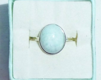 Genuine Larimar Sterling Silver Ring Oval Solitaire sz 6  13mm by 11mm  - Never Worn Artistic Gem 925 Simple Elegant  Raised Dome