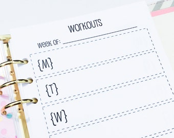 Printed Half Letter Size Workout Inserts