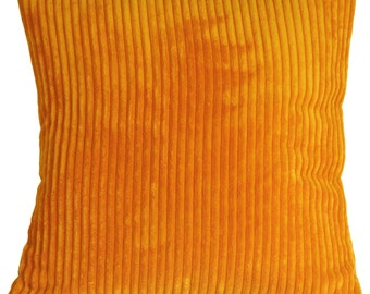 Wide Wale Corduroy 22x22 Light Orange Throw Pillow