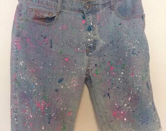 Size 6 Paint Splatter Distressed Shorts