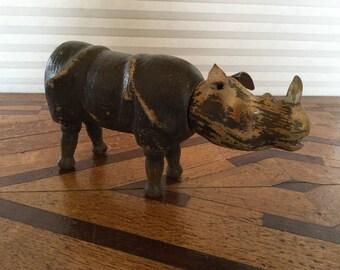 Antique Wood Schoenhut Circus Toy Rhinoceros , Rhino