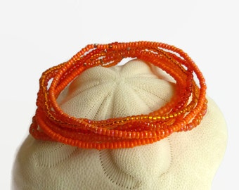 7 seed bead bracelets, orange, stretch bracelet, boho chic, beaded bracelet, orange bracelet, gold
