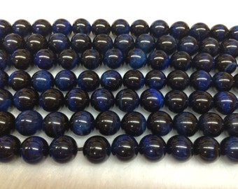 6mm Round Tigereye Beads Genuine Blue Dyed 15''L 38cm Loose Beads Semiprecious Gemstone Bead   Supply