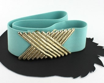 Sea Green & Gold Vintage Elastic Belt
