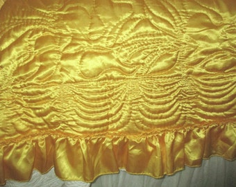 Vintage Hollywood Glam Ruffled Slinky Satin Reversible Quilt Jewel Tone Golden Canary Yellow & Creamy White