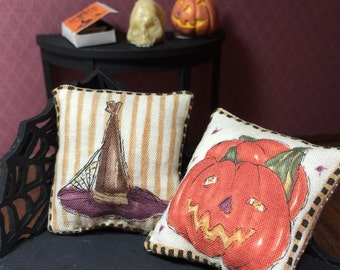 Set of Two 1/12th Scale Miniature Halloween Pillows for Your Dollhouse or Haunted Scene