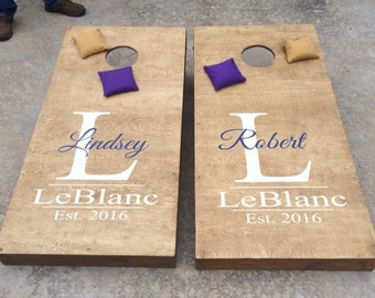 Wedding Cornhole Decal | Set of 2 | Personalized CornHole Sticker | His and Hers Name Cornhole Decal | Wedding Decal | Corn Hole Decal