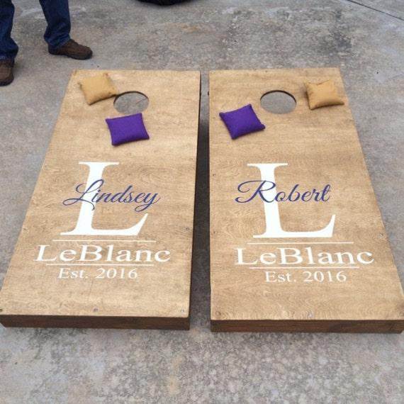 Wedding Cornhole Decal Set Of 2 Personalized CornHole Sticker