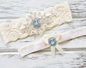 Garters for Wedding   Bridal Belt    Blue Garter Set   Ivory Garter
