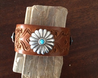 Engraved Leather Cuff With Large Silver Concho