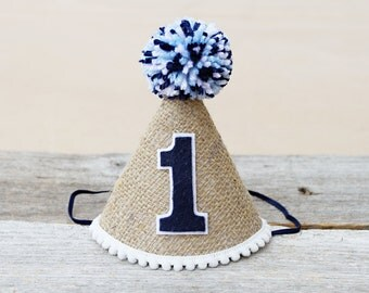 Boys 1st Birthday Burlap and Navy Party Hat - Customize Colors