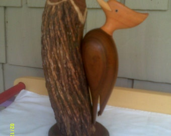 Vintage Wooden Carved Woodpecker, Carved Wooden Bird, Woodpecker Carving, Bird Carving, Wooden Bird Figurine, Hand Carved Bird, Wooden Bird