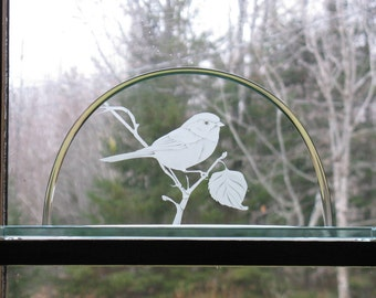 Chickadee Clear Glass Sculpture, Sandblasted Chickadee design on clear glass,  Sculptural Glass, Bird sculptural art, glass art,  SC-100