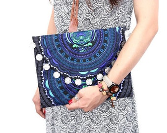Blue Flower Clutch-One of a Kind (043P) - Thailand