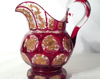 Vintage Small Glass Pitcher with flower designs - Jahrgang Glaskrug mit Blumen-Designs