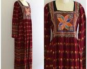 Pakistani Indian Cotton Dress/ Ethnic Boho Maxi Dress/  Mirrored Tribal Festival Dress/ Womens Size Small to Medium
