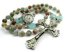 Amazonite Gemstone Rosary, African Opal and Amazonite Rosary, St Michael the Archangel Rosary