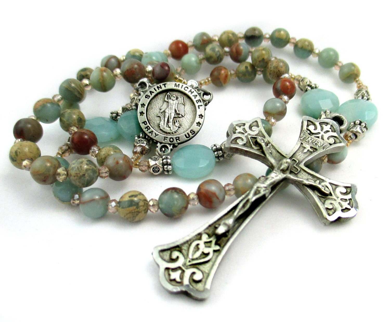 amazonite gemstone rosary opal and by