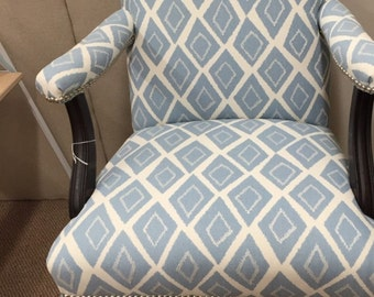 Vintage, newly upholstered open arm chair
