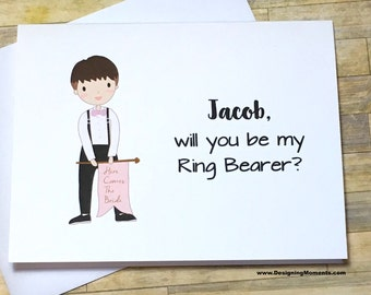 Ring Bearer Card - Will you be my Ring Bearer Wedding Card - Ring Boy Thank You - Banner - Here Comes the Bride DM246