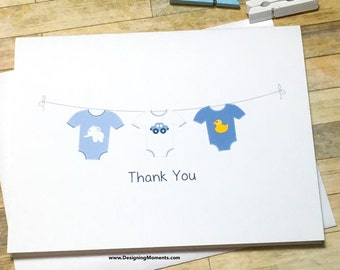 Baby Clothesline Thank You Card Set - Baby Shower Clothesline Thank You Cards - Thank You - Blue Baby Clothesline - Elephant Duck Car