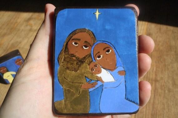 "2.5"" X 3.5"" The Nativity Byzantine Folk style icon on wood by DL Sayles"