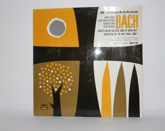 Mid century vinyl record cover art, graphic design 1960s, wall art, Bach Cantatas