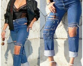 Jean size high torn trend customized handmade / original torn jean / jean trend