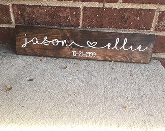 Wood Sign, Wedding Sign, Wedding Date Sign, Marriage Sign, Wall Hanging, Wood Wall Hanging, Family Establishment Sign, Key Rack, Key Holder