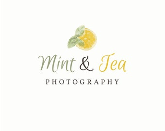 Watercolor Logo Design - Lemon Mint Logo for Photographers, Photography Logo, Fashion Logo Design, Blog Logo, Modern Etsy shop Handrawn Logo