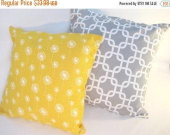 "Pillow Covers, Pillows, Throw Pillows, Decorative Pillow, Cushions, Gray and Yellow Pillows, Beach Decor, Set of 2 - 18"" x 18"""