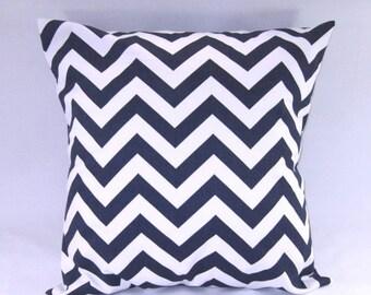 "CLEARANCE SALE Pillow Cover, Pillow, Navy Blue Pillow, Decorative Throw Pillow, Baby Boy, Nursery, Chevron Pillow, 18"" x 18"""