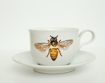 Hand Painted Teacup and Saucer - Honey Bee - Original Painting