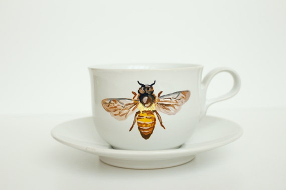 Items similar to hand painted teacup and saucer honey for Honey bee decorations for your home